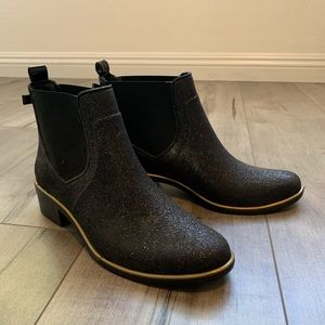 Kate Spade black glitter booties
